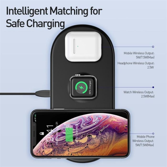 Baseus Smart 3 in 1 Wireless Charger For Phone+Watch+Pods.