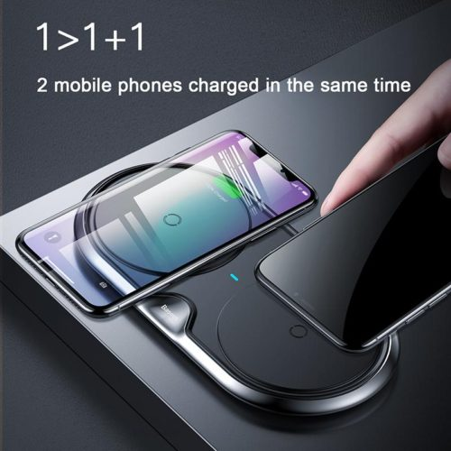 Baseus Dual Wireless Charger(Plastic style)(CN) Black - TechBeans Inc.