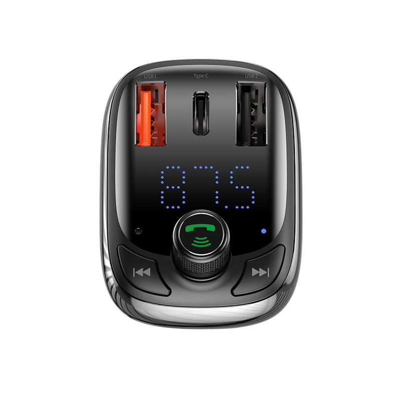 Baseus T typed S-13 Bluetooth MP3 car charger(PPS Quick Charger-EU)Black - TechBeans Inc.