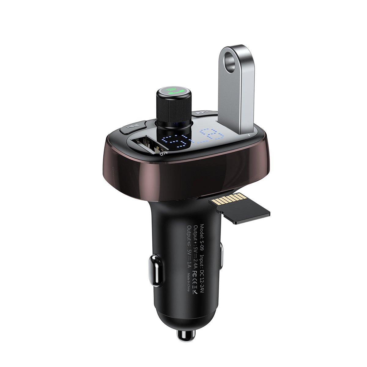 Baseus T typed S-09A wireless MP3 car charger(Standard edition)Black - TechBeans Inc.