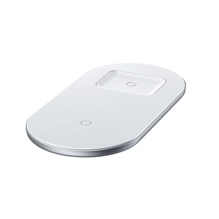 Baseus 2 in 1 Wireless Charger 18W Max For Phones+Pods White